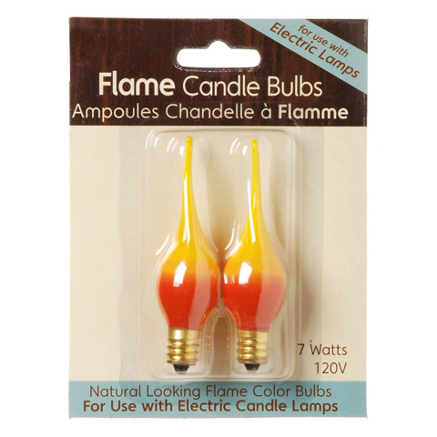 Pack of 2 Yellow Orange Flame Glow Electric Candle Lamp Replacement Light Bulbs