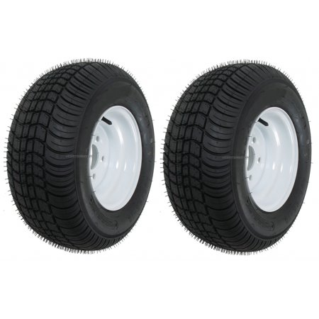 2-Pack Trailer Tires Rims 20.5 8 10 205/65-10 20.5X8.0-10 10 in. 5 Lug E White