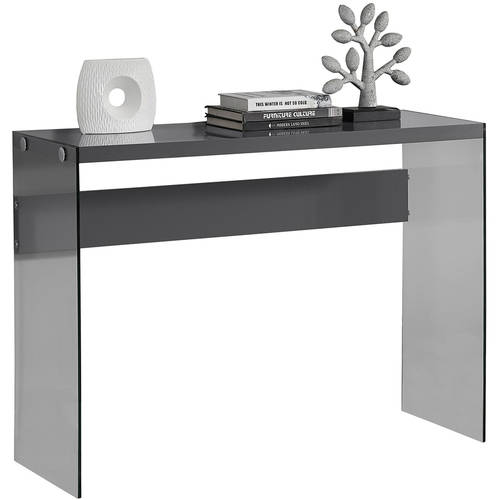 Monarch Console Table Dark Taupe With Tempered Glass by Monarch Specialties