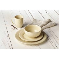 Rachael Ray 16-Piece Cucina Stoneware/Ceramic Dinnerware Set, Almond Cream