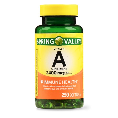 (2 Pack) Spring Valley Vitamin A Softgels, 8000 IU, 250 Ct