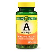 Spring Valley Vitamin A Softgels, 2400 mcg, 250 Ct