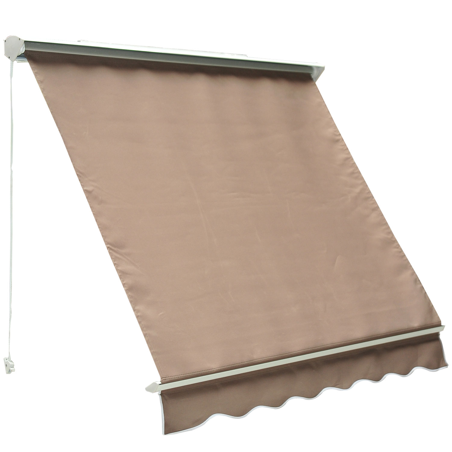 Outsunny 6u0027 Drop Arm Manual Retractable Window Awning   Brown