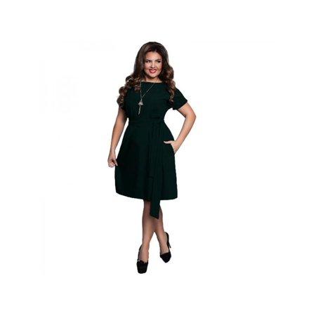 VICOODA Women Plus Size Maxi Dress Short Sleeve High Waist Knee-Length  Evening Party Dresses with Belt