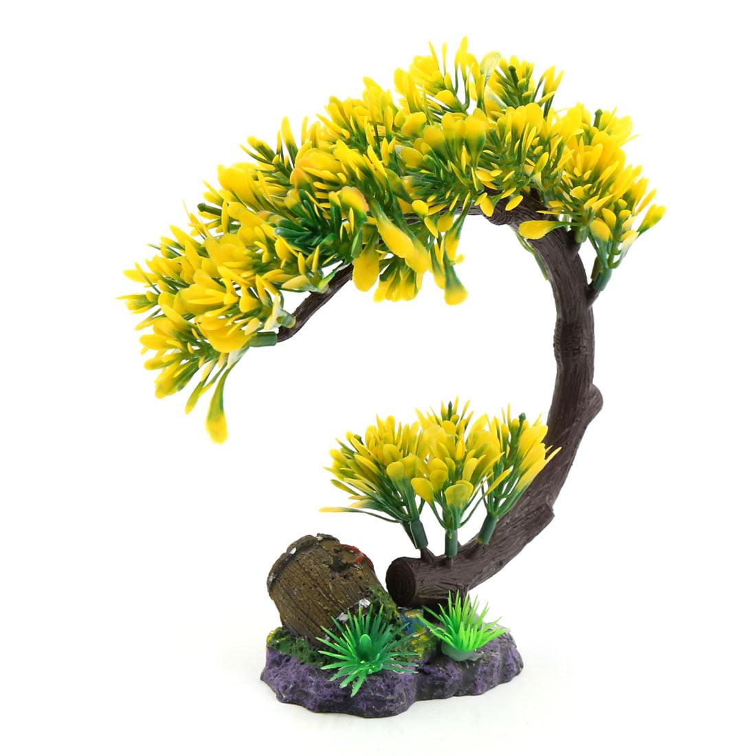 Yellow Plastic Tree Plant Decoration Aquarium Waterscape Ornament Home Decor - image 2 de 3