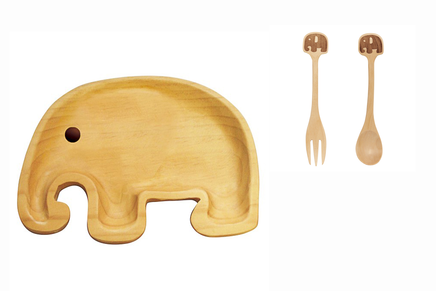 Petits Et Maman Kids' Wood Plate Fork and Spoon, Elephant by Ganz