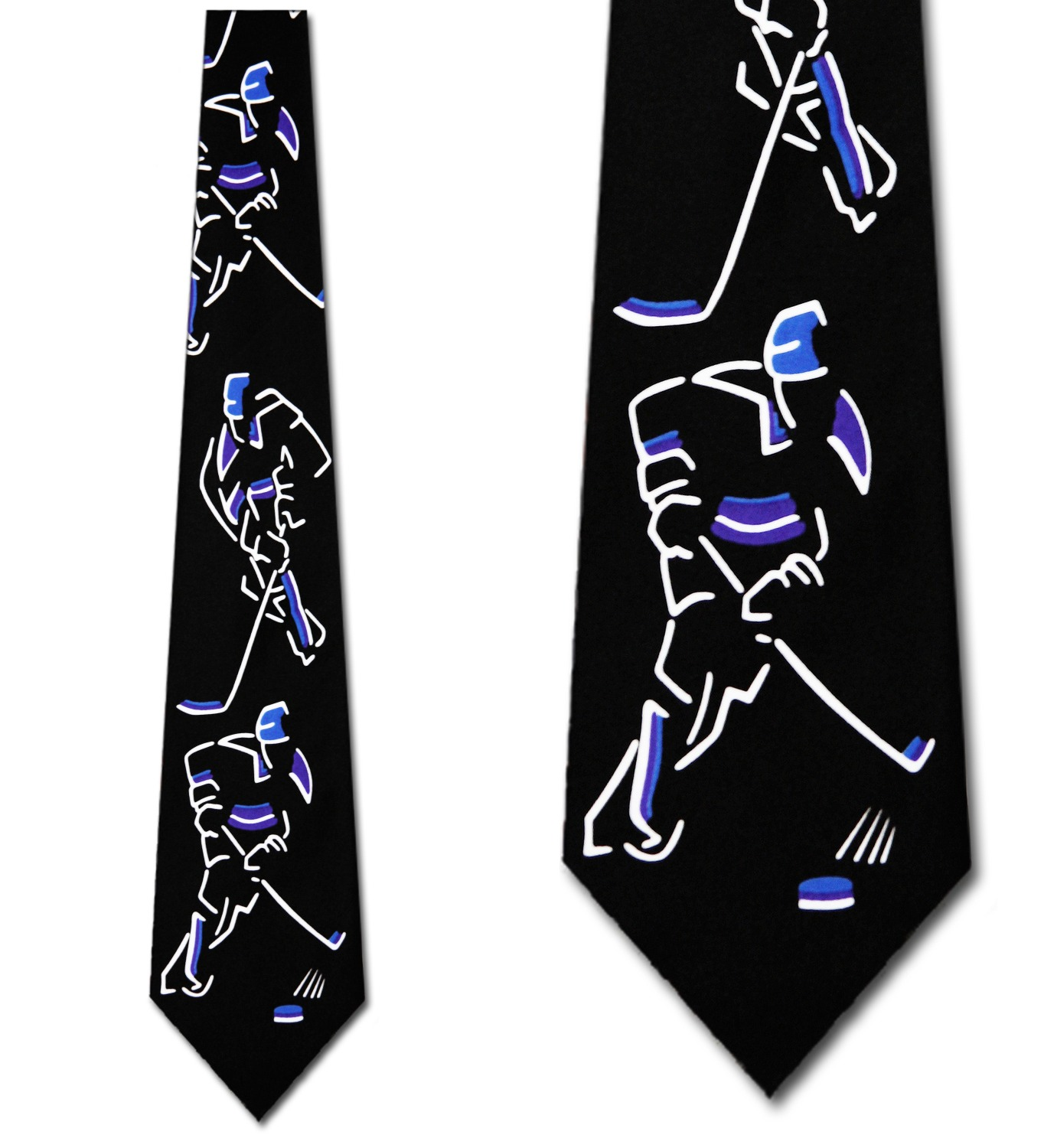 Hockey Images (Black and Blue) Necktie Mens Tie by