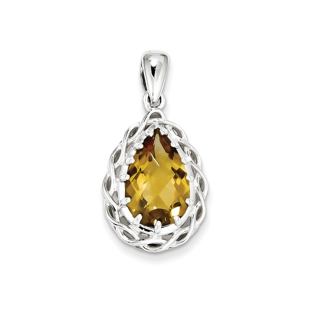 Sterling Silver Whiskey Quartz Pendant. Gem Wt- 3.9ct