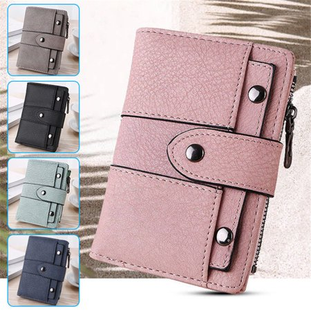 Short Small Wallet Money Purse Ladies PU Leather Folding Coin Card Holder Pocket, Pink ()