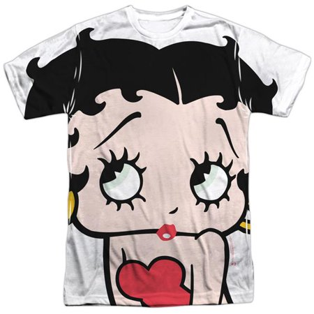 - Trevco BB785-ATPP-1 Betty Boop & Big Boop Head-Short Sleeve Adult Poly Crew T-Shirt, White - Small