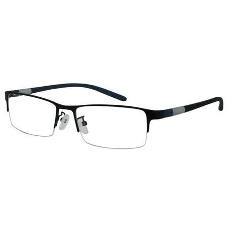 Ebe Reading Glasses Mens Womens Half Rim Stainless Steel Black remarkable grade Light Weight Anti Glare (Steel Rimmed Glasses)