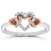 Annello  by Kobelli 10k Two-tone Gold 1/10ct TDW Diamond Interlinking Hearts Promise Ring
