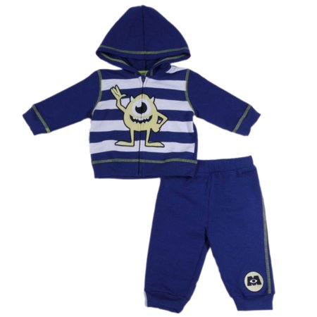 Disney Monsters Inc Infant Boys 2pc Blue/White Striped Hoodie & Pant Set](Sully Outfit Monsters Inc)