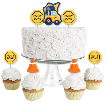 Construction Truck - Dessert Cupcake Toppers - Baby Shower or Birthday Party Clear Treat Picks - Set of 24 - Construction Birthday Party