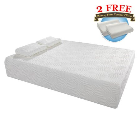 "Ktaxon 14"" Three Layers Queen Cool Memory Firm GEL Foam Mattress Room w/ 2 Pillows"
