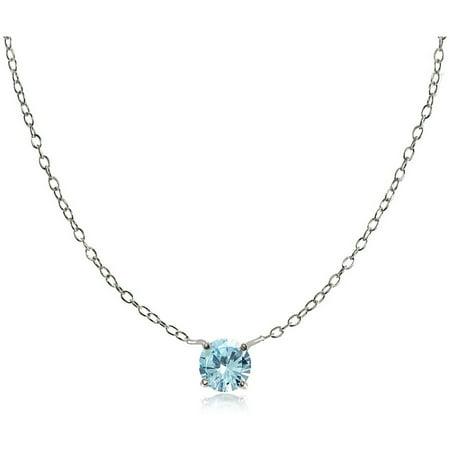 Round Blue Topaz Sterling Silver Small Dainty Choker Necklace Blue Topaz Round Necklace