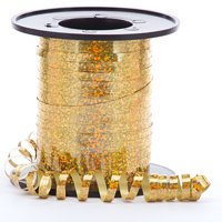 Gold Sparkle and Shiney Holographic Decorative Curling Ribbon, 219 yards