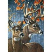 "deer pair fall garden flag doe buck autumn leaves 12.5"" x 18"" briarwood lane"