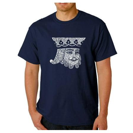 LA Pop Art Men's Word Art T-Shirt - King of Spades (La Kings Clothing)