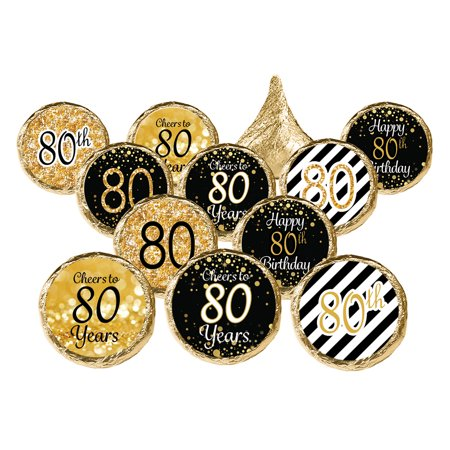 80th Birthday Party Favor Stickers, 324ct - Adult Birthday Party Supplies Black and Gold 80th Birthday Candy Decorations Favors - 324 Count Stickers