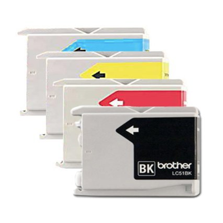 Genuine Brother LC51 (LC-51) Color (Bk/C/M/Y) Ink Cartridge 4-pack (LC51BK, LC51C, LC51M, LC51Y) for Brother DCP-130C, DCP-330C, DCP-350C, IntelliFax-1360, IntelliFax-1860C, IntelliFax-1960C, IntelliF Brother Lc51 Compatible Ink