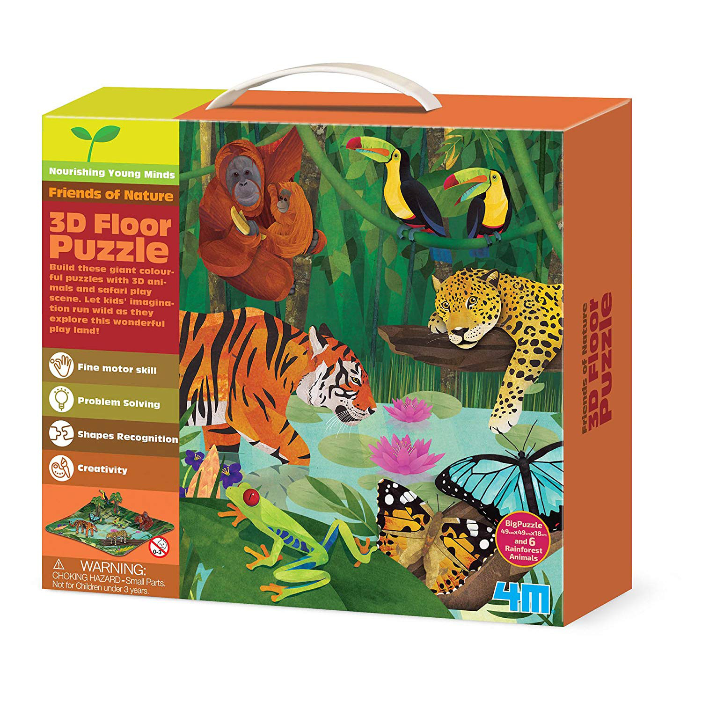 4M Friends of Nature 3D Rainforest Animals Floor Puzzle (54 Piece)