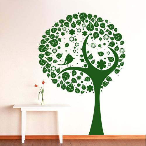 Stickalz llc Wall Decal Tree Silhouette Bird Flowers Wall Room Vinyl Stickers Nature Home Decor Art Mural Green