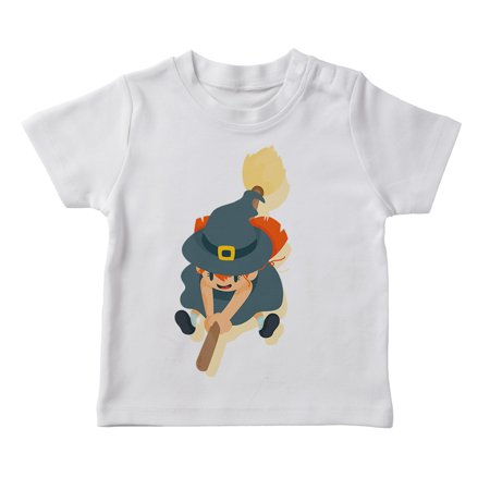 Cute Cartoon Girl In A Witch Costume Girl's White Halloween T-shirt for $<!---->