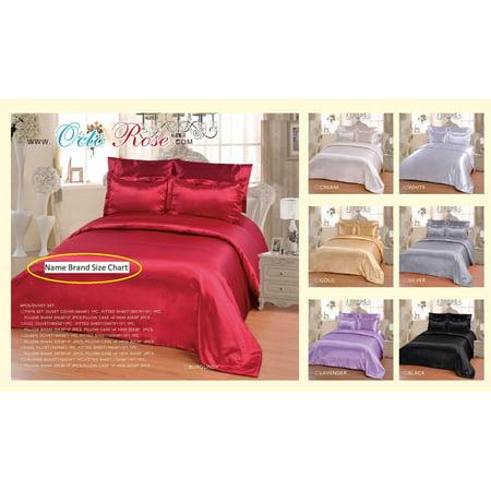 OctoRose 6 PCS Duvet Sheet Set, Supreme Quality Sexy Silky Satin,1 Large Size Double heads Zipper Duvet Cover,1 Fitted Sheet, 2 Pillow case,2 Pillow