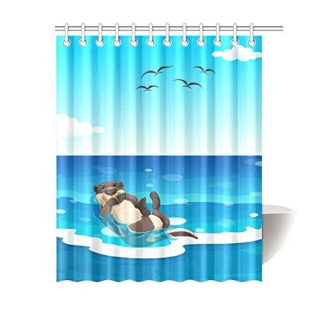 WOPOP Sea Otter Living In The Ocean Waterproof Polyester Shower Curtain 60x72 Inches Bath Home Decor
