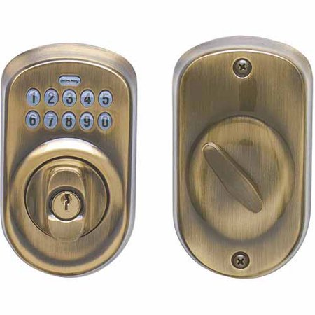 Schlage Be365vply609 Antique Brass Plymouth Keypad