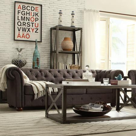 - Chelsea Lane Glamorous Tufted Sofa, Dark Gray Linen