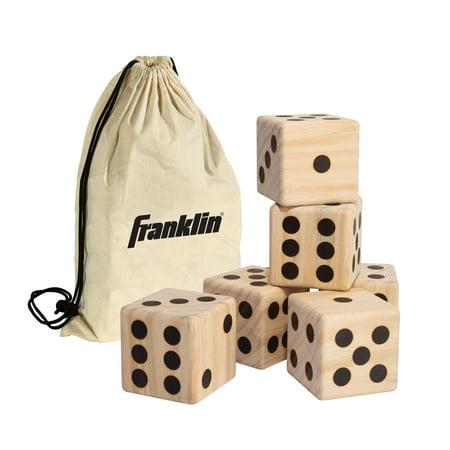 Franklin Sports Jumbo Wood Dice Set Of 6 - 3.5u0022 x 3.5u0022