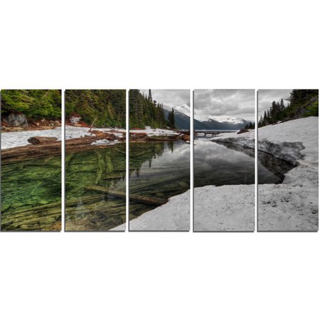 Design Art 'Crystal Clear Lake with Pine Trees' 5 Piece Photographic Print on Wrapped Canvas Set