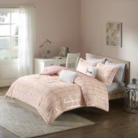 Home Essence Apartment Arielle Metallic Printed Comforter Set, Full/Queen, Blush/Gold