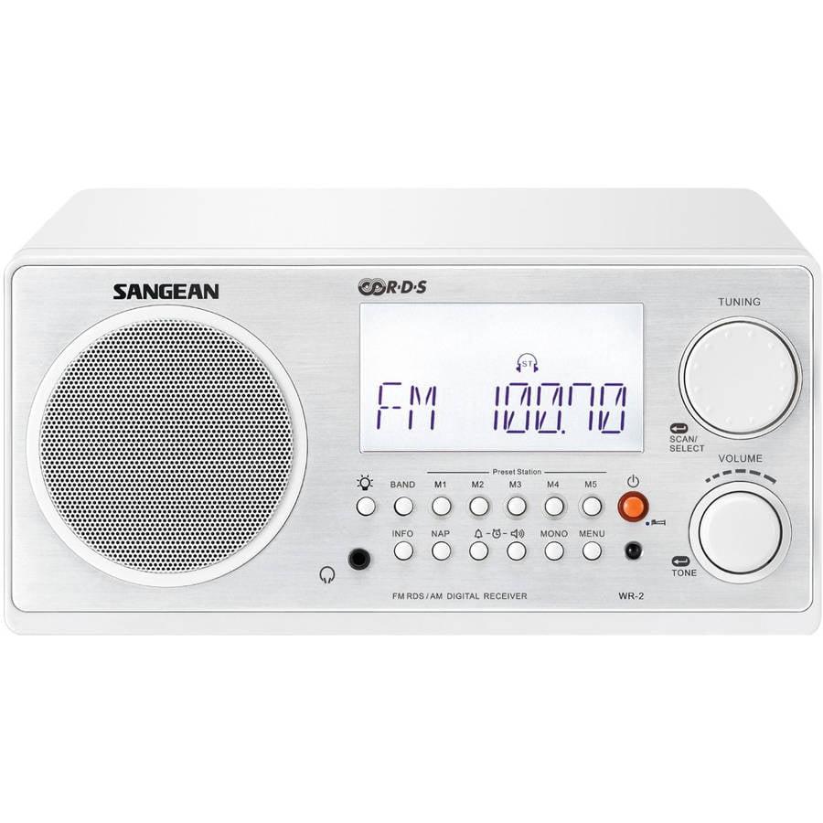 Sangean Digital AM/FM Table Top Radio, White