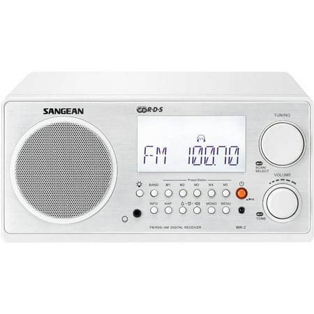 Sangean Digital AM FM Table Top Radio, White by