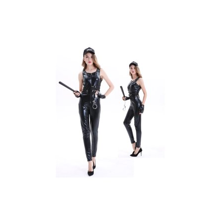 Women's Sexy SWAT Uniform Halloween Costume 5 Piece Outfit Set (XL) - Swat Team Outfit