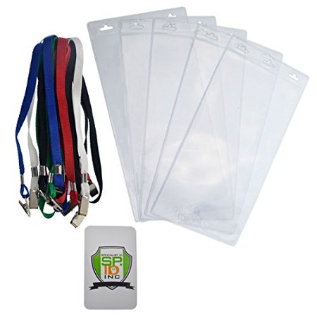 5 Pack - Extra Large 4 x 8 Inch Ticket Credential Badge Holders with Double Sided Lanyards with Bulldog Clips by Specialist ID  (Assorted Colors)