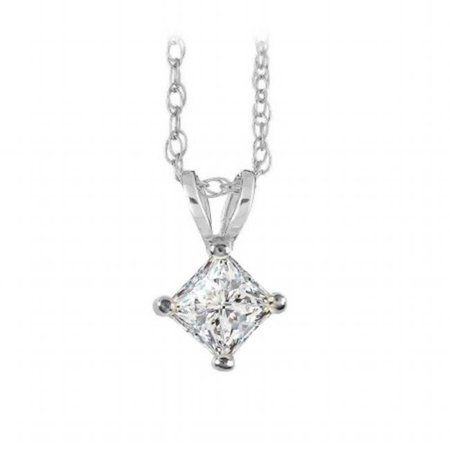 Fine Jewelry Vault Ubpdp015aprw14d Free Chain With Princess Cut Diamond Solitaire Pendant