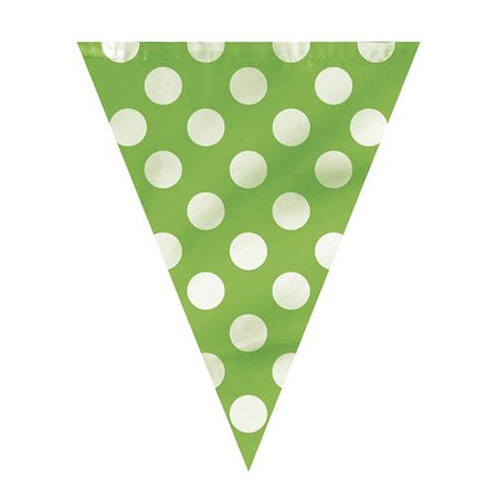Lime Green Polka Dot Party Decor Pennant Flag Banner, 12ft - image 1 of 3