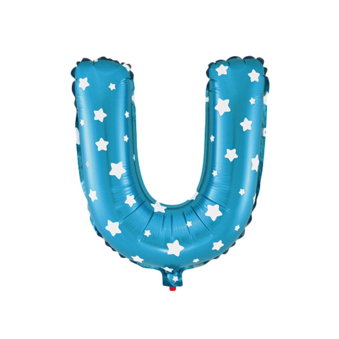 "Unique Bargains 16"" Blue Foil Letter U Balloon Helium Birthday Wedding Festival Decor"