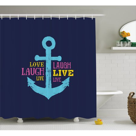 Live Laugh Love Shower Curtain, Memphis Style Nautical Inspirations with Hand Drawn anchor and Cute Quote, Fabric Bathroom Set with Hooks, Multicolor, by Ambesonne