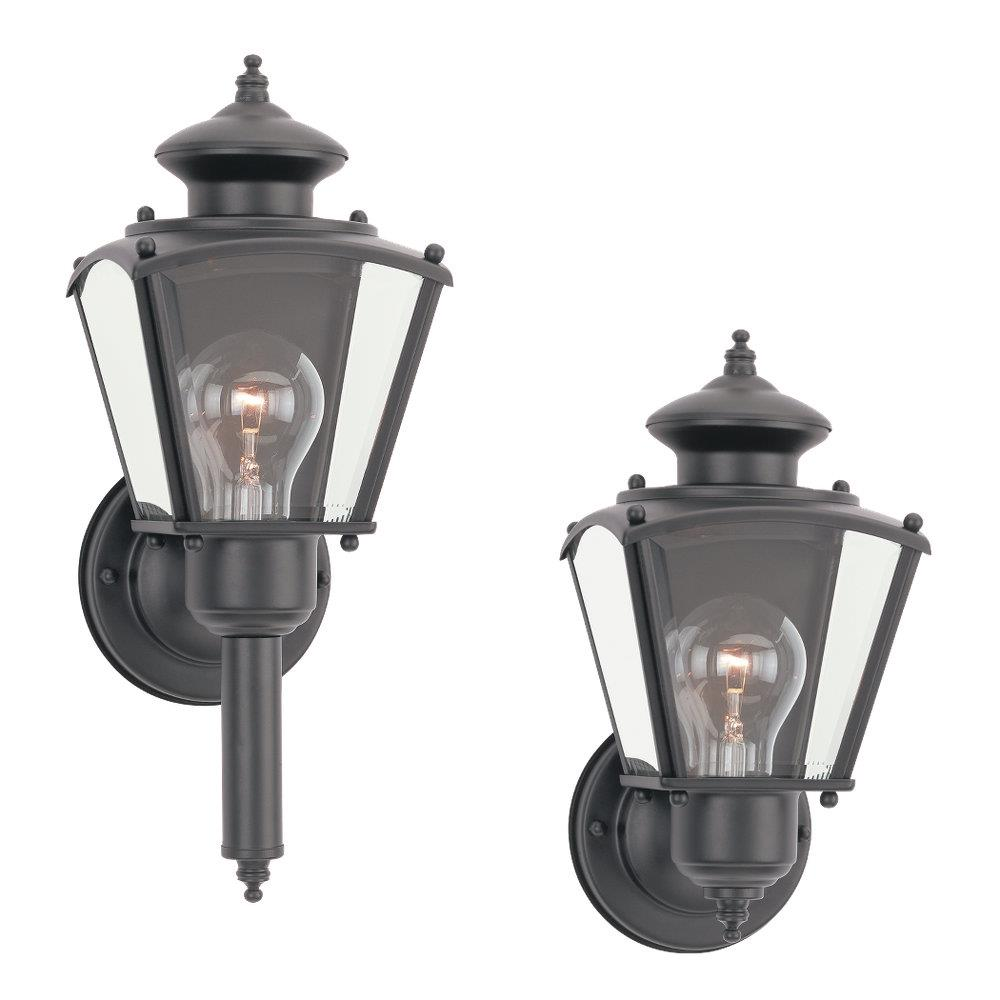 Sea Gull Lighting 8503-12 1- Light Outdoor Wall Lantern Black