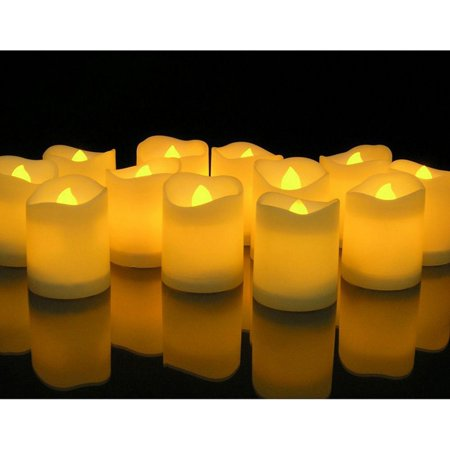 Novelty Place [Longest Lasting] Battery Operated Flickering Flameless LED Votive Candles (Pack of 12) - Battery Operated Votives