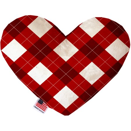 Candy Cane Argyle 6 Inch Heart Dog Toy - Candy Cane Heart