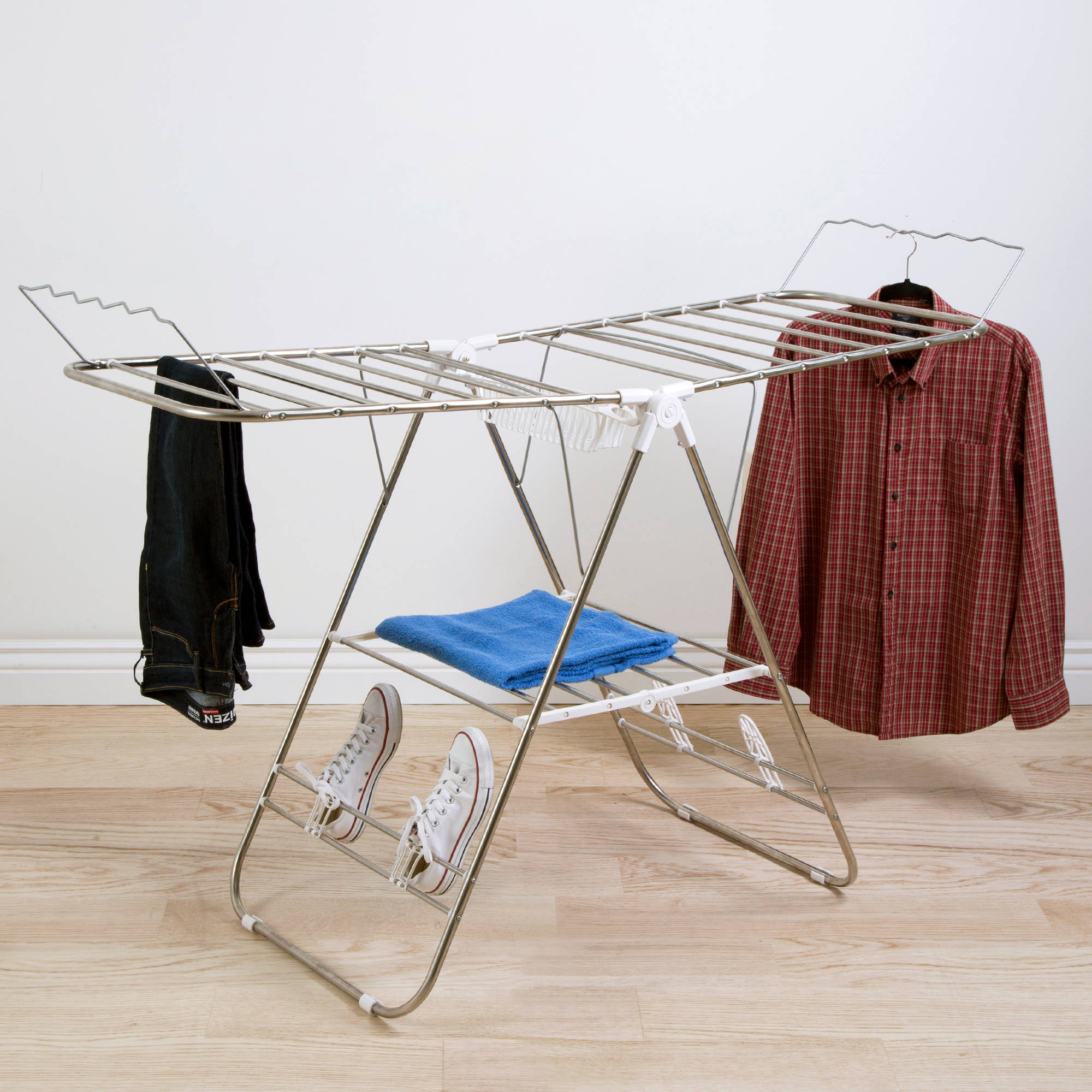 Everyday Home Sturdy Adjustable Gullwing Drying Rack with Shoe Horns