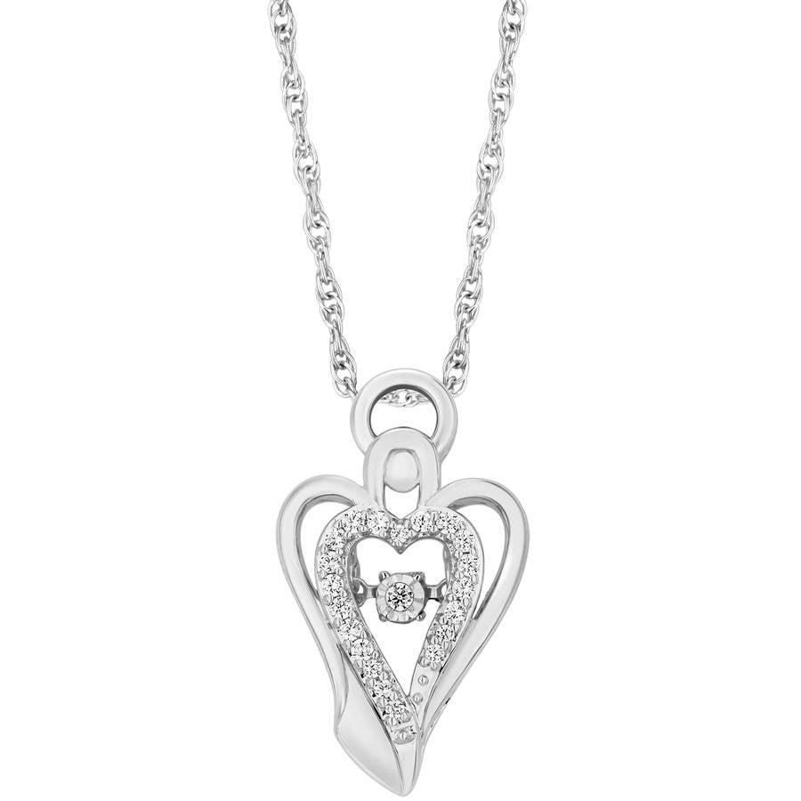 "Carina 1/10 Carat T.W. Diamond Sterling Silver Twinkling Angel Halo Pendant, 18"""