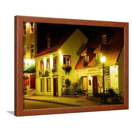 Historic Restaurant at Night, Quebec City, Canada Framed Print Wall Art By Wayne