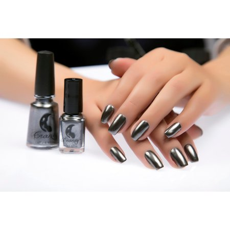 Mirror Nail Polish Plating Silver Paste Metal Color Stainless Steel Black](Black And Yellow Halloween Nails)